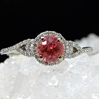 padparadscha ring, solitaire engagement ring white gold, solitaire sapphire ring, diamond halo engagement ring, padparadscha sapphire ring
