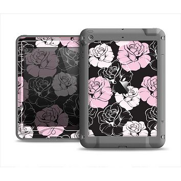 The Pink and Black Rose Pattern V3 Apple iPad Air LifeProof Nuud Case Skin Set