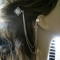 Bobby Pin Ear Cuff,  Ear Cuff, Bobby Pin, Ear Cuff Hair Comb, Celtic Knot, Cross Ear Cuff, Chain Ear Cuff