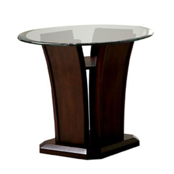 Lolan Flared Glass Top End Table Dark Cherry