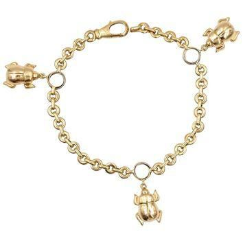 Cartier Three Beetle Gold Charm Bracelet