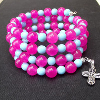 Beaded Wrap Bracelet:  Hot Pink and Baby Blue Memory Wire Neon Jewelry, Stacked Arm Candy Jade Wrist Party, 4 Wrap Bracelet with Cross Charm