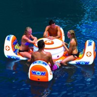 WOW World of Watersports, 14-2010, Island Table, Floating, Inflatable Seating 1 to 4 People, Cooler and Cup Holders