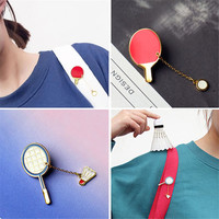 Free shipping Fashion girl brooch pins enamel Badminton table tennis South Korea's brooch Popular jewelry factory  sales