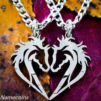 Horse necklace, couples heart jewelry, equestrian set, hand cut half dollar by Namecoins