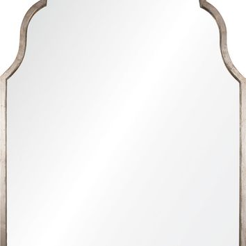 Quick Overview:Antiqued Silver Leaf Iron Arch Mirror