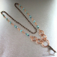 Copper Infinity Turquoise ID Badge Holder Necklace LBD1084