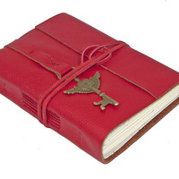 Red Leather Journal with Winged Clock Key Bookmark