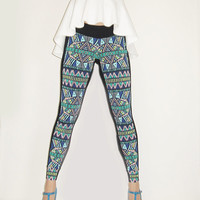 Cool Women Leggings Duo in Tribal Print , Designers Wear, Dance Costume Women Leggings, Women clothing