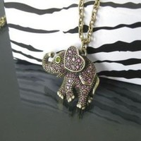 antique bronze Elephant chain necklace N049 by Alwynstore on Etsy