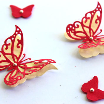 Red and Cream Butterflies,Butterfly Wall Art,3d Butterflies,Paper butterflies,Butterfly wall decor,Home decor,Spring decor,Butterflies