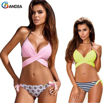 BANDEA sexy bikini 2017 cross patchwork swimwear summer brand bikini set halter trajes de bano push up swimming suit for women