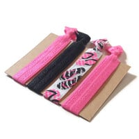 Elastic Hair Ties Pink and Black Flip Flops No Crease Yoga Hair Bands