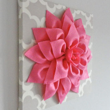 "12""x12"" Felt  Flower, Flower Canvas, Canvas Art, Tarika, Nursery Decor, Dahlia Flower"