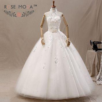 Halter Lace A Line Wedding Dress Pearl Beaded Lace Corset with Bow Debs Dress Vestidos de Noiva Real Photos