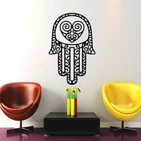 Hamsa Hand Wall Decal Vinyl Sticker Decals Lotus Flower Yoga Namaste Indian Ornament Moroccan Pattern Om Mandala Home Decor Bedroom Art Design Interior NS332