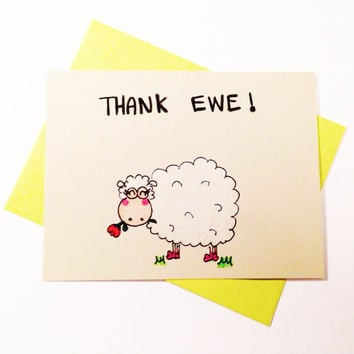 Funny thank you card, thank ewe, original art, cute thank you notecard, thank you notes, aceo, wedding thank you, bridal shower thank you