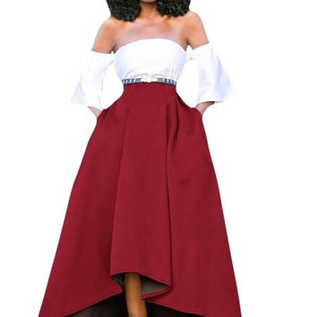 Burgundy Asymmetric High-Low Hem Maxi Prom Skirt