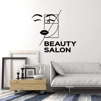 Vinyl Wall Decal Beauty Salon Golden Ratio Sexy Woman Face Stickers Mural (ig5415)