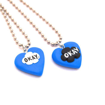 The Fault in Our Stars Inspired Best Friend Necklace, BFF Friendship Necklace, Miniature OKAY Jewelry in Fimo Polymer Clay, John Green Okay