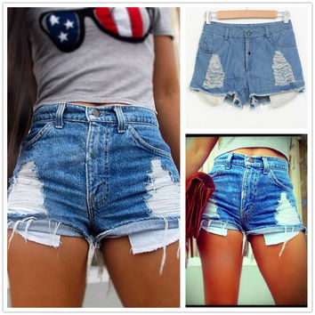Summer Plus Size Denim Pants Ripped Holes Shorts [6414336321]