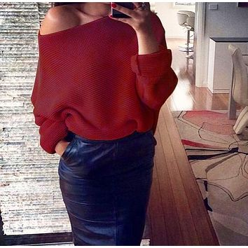 Winter  Women's Fashion Sexy Off-Shoulder Solid Color Long Sleeve Sweater 1#