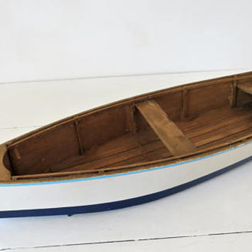 Vintage French, Large, Skiff Boat, Model, Hand Crafted