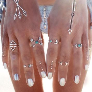 LMF9GW 6PCS Retro Turkish Beach Punk Moon Arrow Ring Set Ethnic Carved Antique Silver Color Boho Midi Finger Ring Knuckle Charm anelli