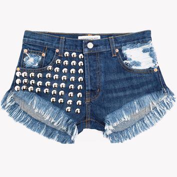 Treasure Dark Whiskered Cut Off Shorts