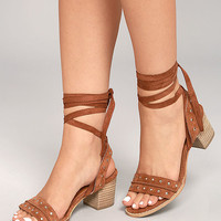 Rosalee Brown Suede Lace-Up Heels