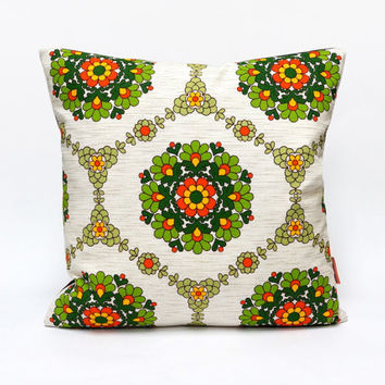 Green Mid Century Decorative Pillow | Retro Cushion Cover | Couch Pillow | Throw Pillow Cover 16 x16 | Handmade by EllaOsix