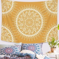 Yellow Mandala Tapestry  51x60in