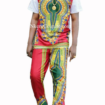 Customized Men Sets Summer Top & Trousers Sets for Men African Style Wax Short Sleeve Set PK54