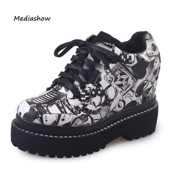 New 2017 Spring Autumn fashion print casual shoes ladies wedge High platform shoes wom