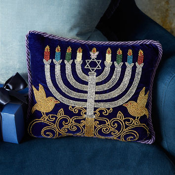 Blue & Silver Menorah Pillow - Sudha Pennathur