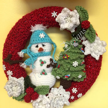 Winter Wreath With Snowman and Tree Crochet Pattern by Teri Crews Instant Download PDF