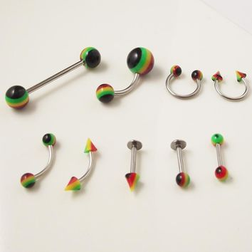 9pcs Rainbow Stainlessl Steel Tongue Rings Lip Ear Ring Labret Belly Nose Eyebrow Tragus Helix Ear Piercing Body Jewelry