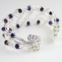 Hallmarked 925 Sterling Silver Woven Braided Cuff Bracelet with Purple Glass Crystals and Spiral Ends - Small Size