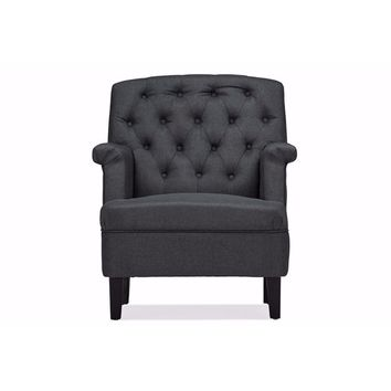 Jester Classic Retro Modern Grey Fabric Upholstered Button-tufted Armchair By Baxton Studio