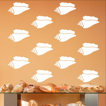 "Conch Sea Shells Vinyl Wall Decals - Set of 3.5"" Inch Conch Shell Decals 22578"