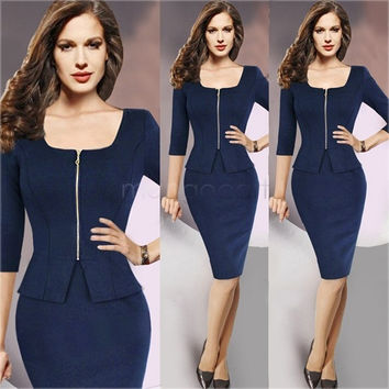 Hotsale 2014 Women Autumn Winter Dress Elegant Ladies peplum Zipper Office Pencil Sheath Dress Plus Size M-XXL b6 CB029826 = 1958122116