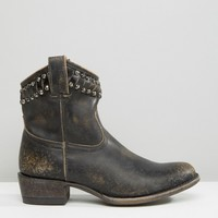 Frye Diana Cut Stud Short Western Leather Ankle Boots