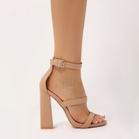 Oyster Triple Strap Flared Block Heels in Nude
