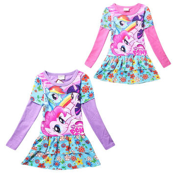 Kids Clothes Spring Autumn Party Dress My Little Pony Long Sleeve Kids Dresses For Girls Clothes 10 Years