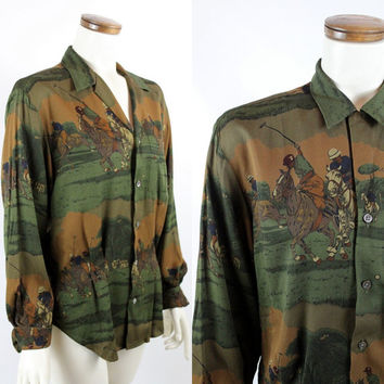 NOS with Tags Vintage 90s Ralph Laren I Magnin - Olive Green Equestrian Horses Polo Novelty Print - Button Up Collar Long Sleeve Shirt