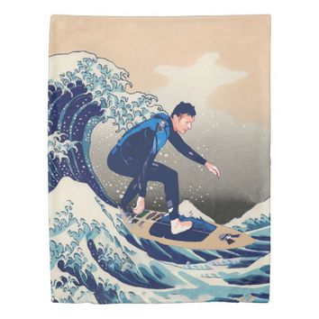 Funny Surfer Surfing On The Hokusai Great Wave Duvet Cover