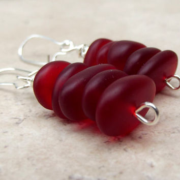 Red Drop Earrings:  Velvet Cherry Red Sea Glass Pebble Stacked Earrings, Modern Silver Wire Earrings, Beach Wedding Jewelry