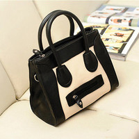 Fashion OL Style Lady Women Black White PU Tote Clutch Handbag Bag Purse