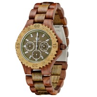 MEKU Handcrafted Wood Watch Mens Solid Natural Sandalwood Wrist Watch Day Date Calendar