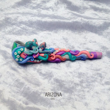 Pipe for smoking. Pastel colors.
